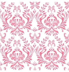 Seamless pattern with floral pink background vector image