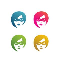 Set face superhero women with mask vector