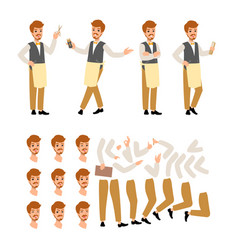 Set flat style character barber guy in vector