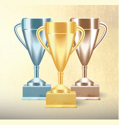 set of golden bronze and silver trophy cups or vector image