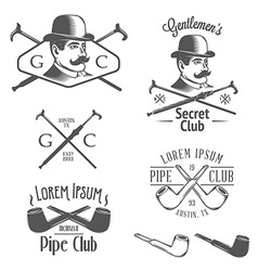 Set of vintage gentlemens club design elements vector image