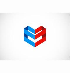 shape 3d company logo vector image
