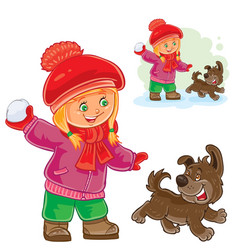 Small girl playing snowballs vector