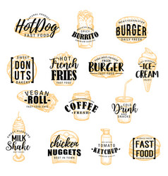 street fast food meals sketch icons with lettering vector image