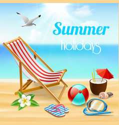 summer holidays realistic composition vector image