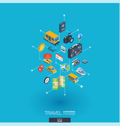 travel integrated 3d web icons digital network vector image