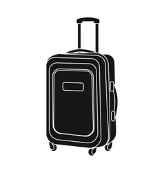 Travel luggage icon in black style isolated on vector