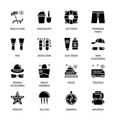 Travel vacation and famous landmarks glyph icons vector