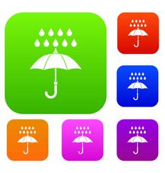 umbrella and rain set collection vector image