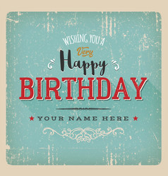 vintage retro birthday card vector image