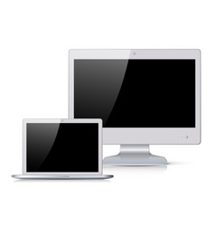 White monitor and notebook with black screen vector
