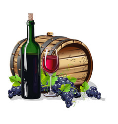 Wine barrel with a bottle and a glass vector