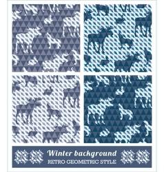 Winter geometric seamless patterns vector
