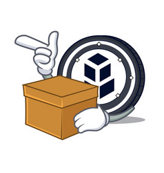With box bancor coin character cartoon vector