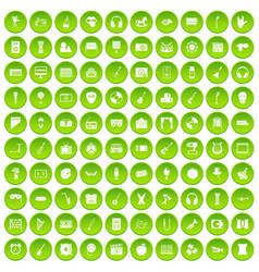 100 musical education icons set green circle vector