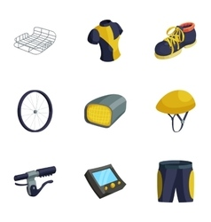 Bicycle bike sport icons set cartoon style vector