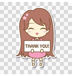 Cute girl holding frame with text vector image vector image