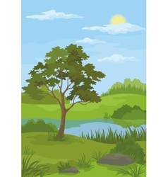 Landscape pine tree and lake vector image
