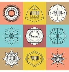 Set line art insignia retro vintage design element vector image