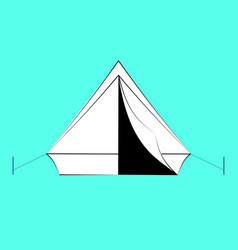 white tourist tent with black contours of vector image