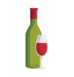 wine cup bottle vector image