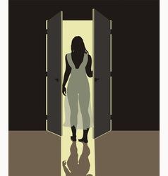 Woman in nightgown vector image vector image