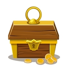 wood Treasure chest and coin vector image