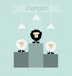 Black sheep is champion vector image vector image