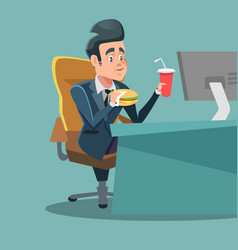 businessman cartoon eating fast food at office vector image