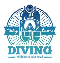 color diving club emblem or logo vector image vector image