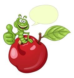 Funny cartoon worm in apple vector image vector image