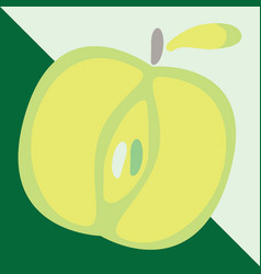 green apple sign icon fruit with leaf symbol vector image