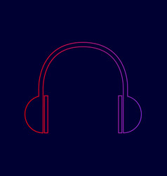 headphones sign line icon vector image