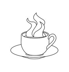 monochrome contour with hot cup of coffee serving vector image vector image