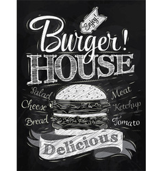 Poster Burger Hous chalk vector image