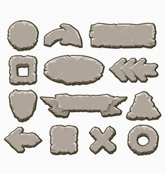 rock cartoon interface buttons set vector image