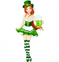 St Patrick's day girl vector image vector image