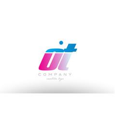ot o t alphabet letter combination pink blue bold vector image