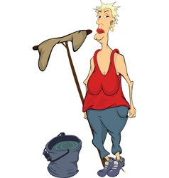 The cleaner cartoon vector image vector image