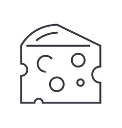 cheese line icon sign on vector image vector image