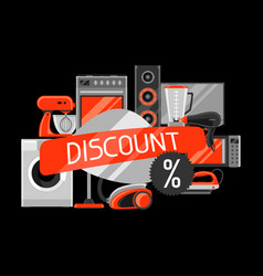 discount background with home appliances vector image vector image