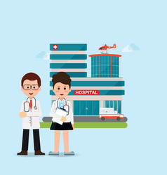doctors and nurse standing in front of hospital vector image vector image