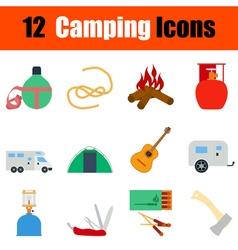 Flat design camping icon set vector image