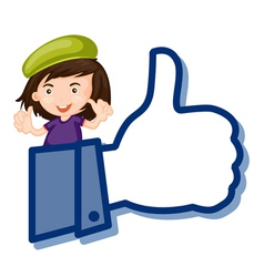 girl showing thumb picture vector image