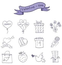 Icons of valentine day romance theme vector