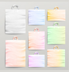 plastic shopping realistic bags set with handles vector image vector image