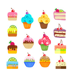 set of cakes and pastries sweet desserts vector image