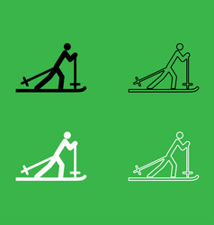 skier icon black and white color set vector image vector image