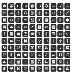 100 learning kids icons set black vector image