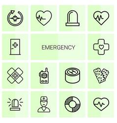 14 emergency icons vector